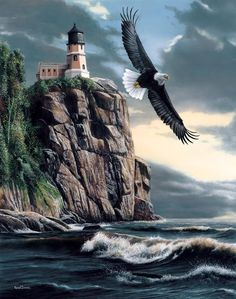 Eagle soars over majestic land and sea with hilltop lighthouse in the background, love this picture composition and concept.