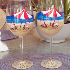 Beach scene hand painted wine glasses.