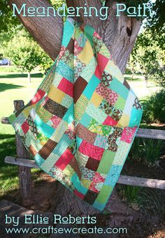 Meandering Path Quilt Tutorial - Uses one layer cake + one matching charm pack to make a lap quilt - another easy gift idea