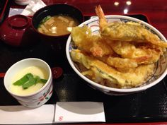 Japanese Tendon.Tempra on rice.at Narita airport.