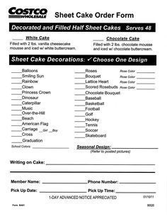 costco bakery order form  Costco Sheet Cake Order Form cakepins … More | Cake Order ...