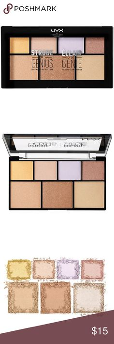 NYX Strobe of Genius Highlighter Palette NYX Strobe of Light Palette includes seven velvety-smooth shades of must have illuminators for a perfect highlight. New in box. 4x 0.07oz. 3x 0.14oz NYX Cosmetics Makeup Luminizer