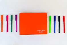 Orange Guest Book Birtsmorton Court Wedding The Dignums #wedding #guestbook