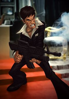 Scarface - Tony s little friend saying hello By Patrick Brown #GangsterMovie #GangsterFlick