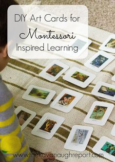DIY Art Cards for Montessori Learning -- using stickers to make art appreciation cards to study artists.