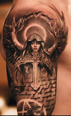 Half Sleeve Tattoos Cross, Cross Tattoo For Men, Angel Tattoo Designs, Angel Tattoo Men, Religous Tattoo, Religious Tattoo Sleeves, Gladiator Tattoo, Scripture Tattoos, Tattoos For Guys Badass