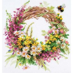 "Wreath With Fireweed Counted Cross Stitch Kit-11.75""X11.75"" 14 Count"