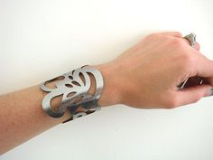 Leather cuff bracelet in antique silver - laser cut swirl design