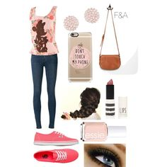Floral Minnie Mouse by fasha0903 on Polyvore featuring polyvore, fashion, style, J Brand, Vans, Forever 21, Swarovski, Topshop and Essie