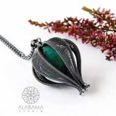 Turquoise seed sterling silver pendant turquoise pendant