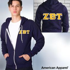 American Apparel Zeta Beta Tau Zip Hoody - F497