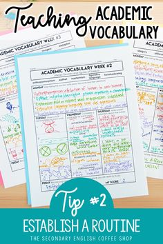 Teaching Academic Vocabulary in the Secondary Classroom
