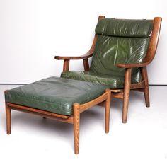 Hans Wegner; #530 Oak and Leather Armchair and ottoman for Getama, 1973.