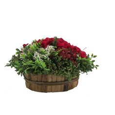 August Grove Rose Centerpiece in Basket