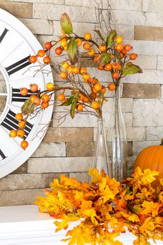 Fall mantel decorating idea using what you already own.