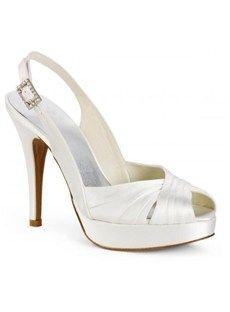 Amazing Leatherette Upper Stiletto Heel  Peep-toes With Rhinestone Wedding/Prom Shoes