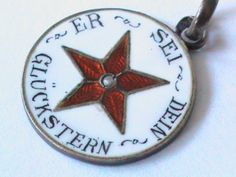 Antique German Silver gilt Enamel THIS IS YOUR LUCKY STAR Charm