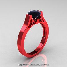 Moderne 14K Rot Gold luxuriöse Verlobungsring von DesignMasters, $1799.00