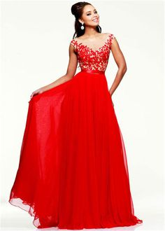 Sheeri Hill 11151 Long Red Floral Lace Evening Dresses