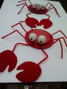 Crab made from plastic plates and ping pong balls Weird Animals VBS Crab Crafts, Vbs Crafts, Camping Crafts, Fun Crafts For Kids, Craft Activities For Kids, Preschool Crafts, Projects For Kids, Art For Kids, Arts And Crafts
