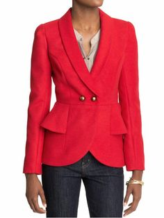 Still tryin to figure out what I think about peplums. I love the color, cut and buttons on this jacket
