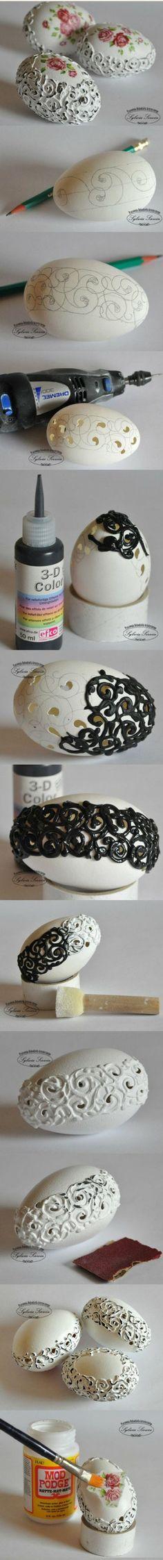 art works on egg shell . stunning