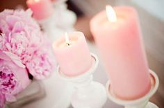 LIGHT PINK CANDLES & WHITE CANDLE HOLDERS FOR LIVING ROOM//BEDROOM