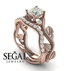 Wedding Ring Sets his and hers - The Leaves Festival Bridal Set Diamond Ring- Allison no. Unique Diamond Engagement Rings, Antique Engagement Rings, Rose Gold Engagement Ring, Diamond Rings, Halo Engagement, Solitaire Rings, Ruby Rings, Solitaire Diamond, Wedding Rings Sets Gold
