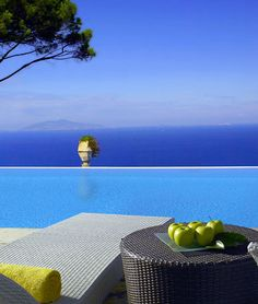 Replace the apples with wine and this is a perfection - Hotel Caesar Augustus on the Isle of Capri, Italy.