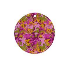 "Anneline Sophia ""Marbleized In Plum"" Pink Purple Ceramic Circle Ornament"