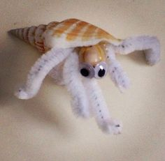 hermit crab craft with google eyes & pipe cleaner!!