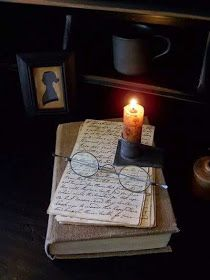 Reading by candle light/ a permanent fixture at my house, old books glasses and love letters on my side table.lit by a beeswax glow. Primitive Lighting, Candle Jars, Candles, Mourning Dove, Old Books, Vintage Books, Early American, I Love Books, Antique Books