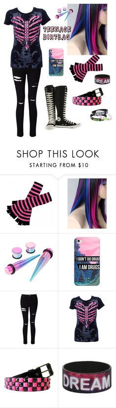 """Scene Queen"" by dark-emo-kitty ❤ liked on Polyvore featuring Casetify, Miss Selfridge and Converse"