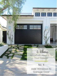 Transform and update the exterior of your home instantly by replacing garage doors with a more modern garage door design. We're showing you garage door styles to consider and what you need to think about when choosing modern garage door designs. Black Garage Doors, Modern Garage Doors, Garage Door Design, Garage Door Colors, Garage Exterior, Garage Door With Windows, Wood Garage Doors, Exterior Paint, Black Exterior Doors