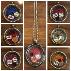 Support your school with this themed locket! Comes in oval or round. Each locket comes with 1 photo logo charm, a ball charm of your choice, a