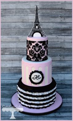 Paris themed baby shower cake www.facebook.com/i.love.cuteology.cakes