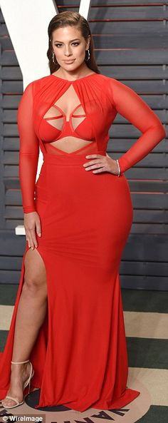 Fame game: Ashley stunned in red at the Vanity Fair Oscar party in February...