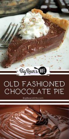 Chocolate Pie Recipes, Chocolate Pies, Hershey Chocolate Pie, Chocolate Custard Pie Recipe, Thanksgiving Chocolate Desserts, Chocolate Meringue Pie, Best Chocolate Desserts, Easy Desserts, Delicious Desserts