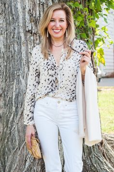 What To Wear To an Early Fall Football Game: White Jeans w/ a Touch of Animal Print