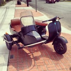 Perfect family vehicle -- 1968 Vespa 150 Motor Scooter with Sidecar VINTAGE