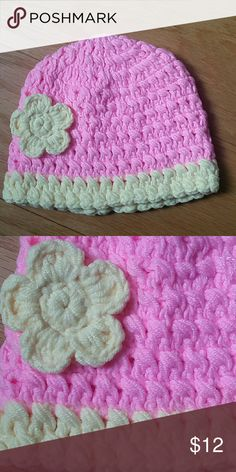 NWOT Crochet baby beanie Adorable crochet beanie in light pink and light yellow. A very cute piece  This item is brand new and never used Accessories Hats