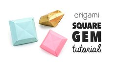 Learn how to make a pretty 3D origami diamond, this a square shaped gem or crystal decoration. Using one piece of square paper   These gems make super cool...