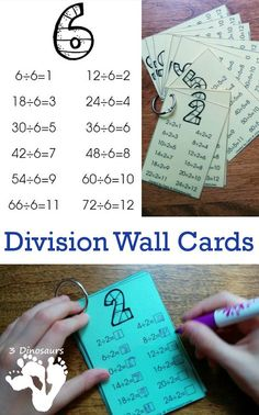 Free Division Wall Cards: 2 Types - With Answers and Fill in Answers  - 3Dinosaurs.com
