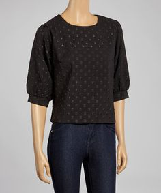 Another great find on #zulily! Black Swiss Dot Three-Quarter Sleeve Top #zulilyfinds