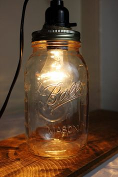 Mason Jar Light  Red Blue or Clear by AmericanSweetheartMA on Etsy, $40.00