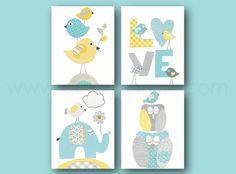 Aqua jaune bleu et gris pépinière Art Print par GalerieAnais