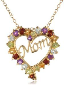 "Yellow Gold-Plated Sterling Silver Multi-Gemstone ""Mom"" Heart Pendant Necklace, 18"" - http://www.wonderfulworldofjewelry.com/jewelry/necklaces/pendants/yellow-goldplated-sterling-silver-multigemstone-mom-heart-pendant-necklace-18-com/ - Your First Choice for Jewelry and Jewellery Accessories"