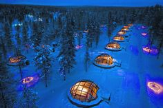 The Wildest Travel Accommodations --Stay in a magical glass igloo, snow igloo, or log cabin at Finland's Kakslauttanen Arctic Resort, 155 miles north of the Arctic Circle. Guests can take a chilly dip in a natural spring—if it's frozen over, the staff will cut a hole for you to jump through. In the summer, the resort offers mountain biking and riverboat cruises on the Lemmenjoki river, and in the winter, guests can go cross-country skiing and dogsledding. From $78/night; kakslauttanen.fi