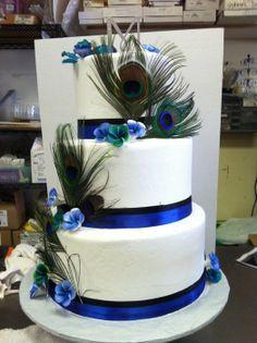 Peacock Wedding - Cake by KoffeeKupBakery Peacock Cake, Peacock Wedding Cake, Peacock Theme, Themed Wedding Cakes, Wedding Cake Stands, Our Wedding, Dream Wedding, Wedding Ideas, Wedding Stuff
