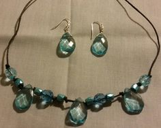 Aqua clear tear drop set necklace and earrings by MarieLynneJewelry on Etsy